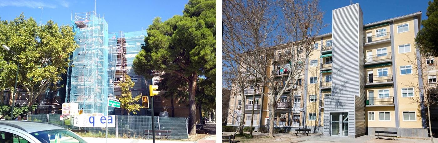 Antes y Después de la rehabilitación en el edificio de Peña Oroel